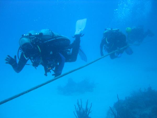 Photo of Dr. Craig McKinley followed by his crewmates